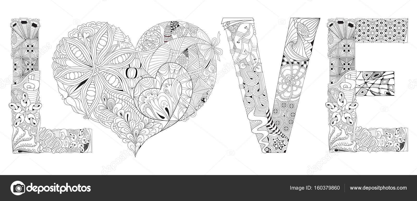 La palabra amor con corazón para colorear. Objeto de zentangle ...