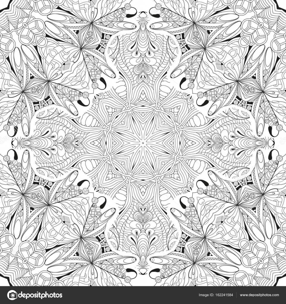 Hand gezeichnet Zentangle nahtlose Muster für Malvorlagen ...