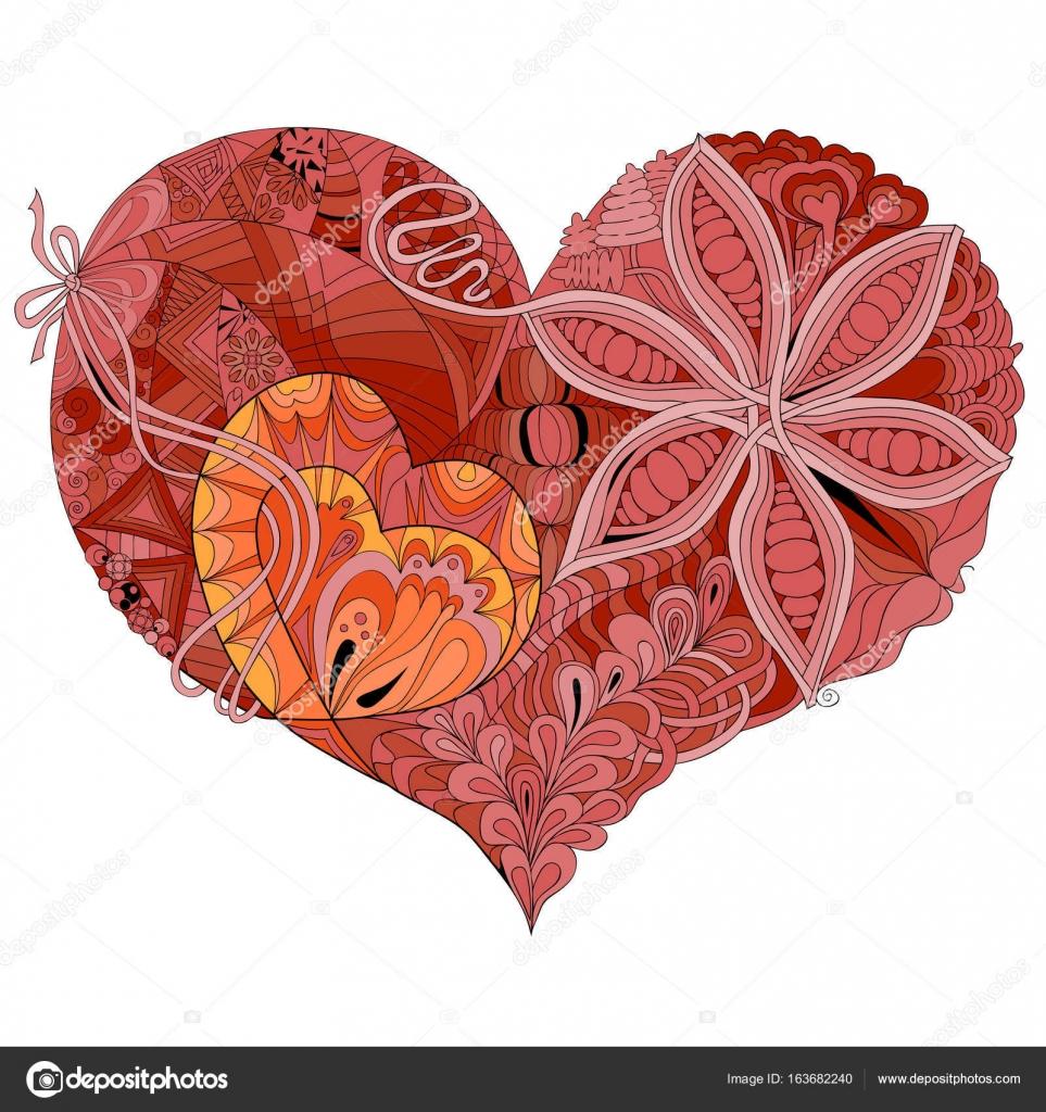 Ilustración de rosa y rojo de corazón doodle incompletos — Vector de ...