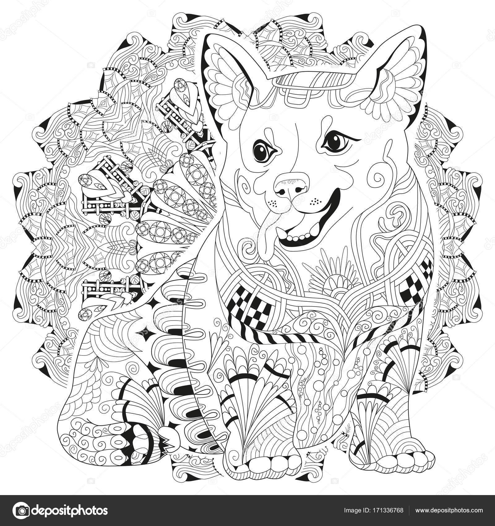 Kleurplaten Mandala Hond.Mandala Met Hond Om In Te Kleuren Decoratieve Zentangle