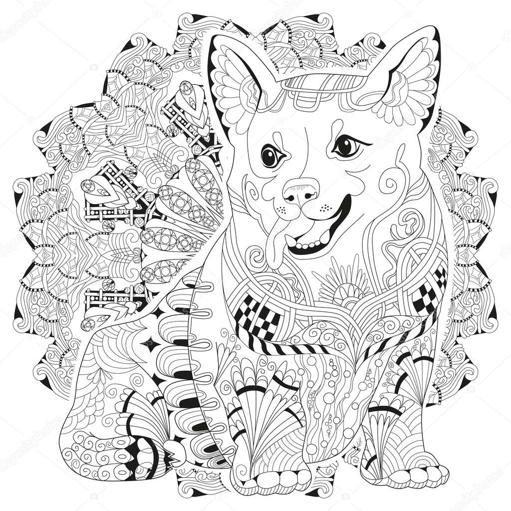 Mandala With Dog For Coloring Vector Decorative Zentangle Object