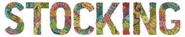 Word stocking. Vector decorative zentangle object