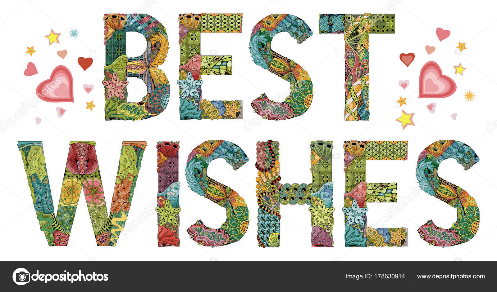 Words BEST WISHES. Vector decorative zentangle object — Stock Vector ...