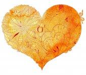 Fényképek Vázlatos doodle sárga szív illusztráció
