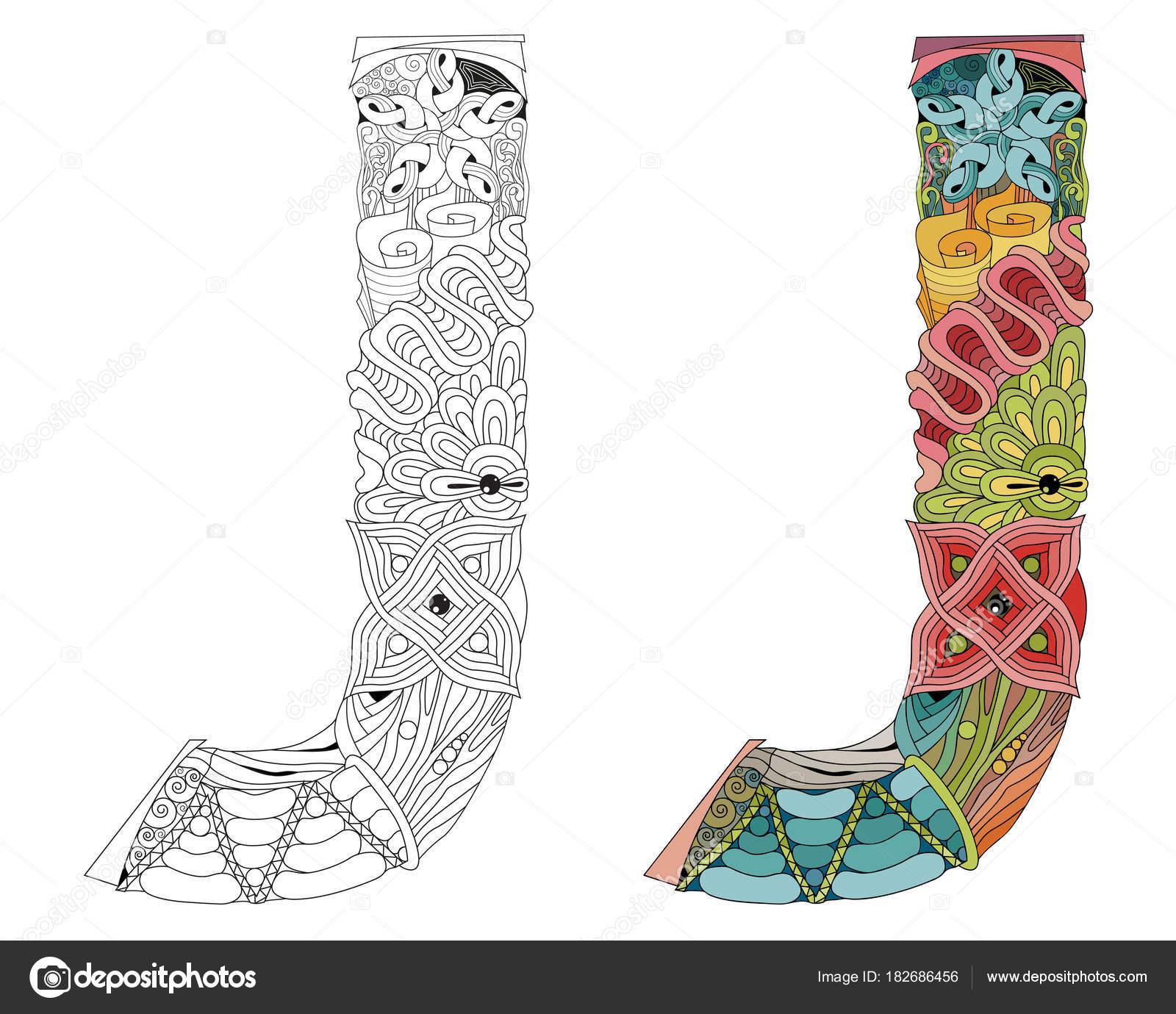 Zentangle Letra J Para Colorear Objeto Decorativo Vector Vector