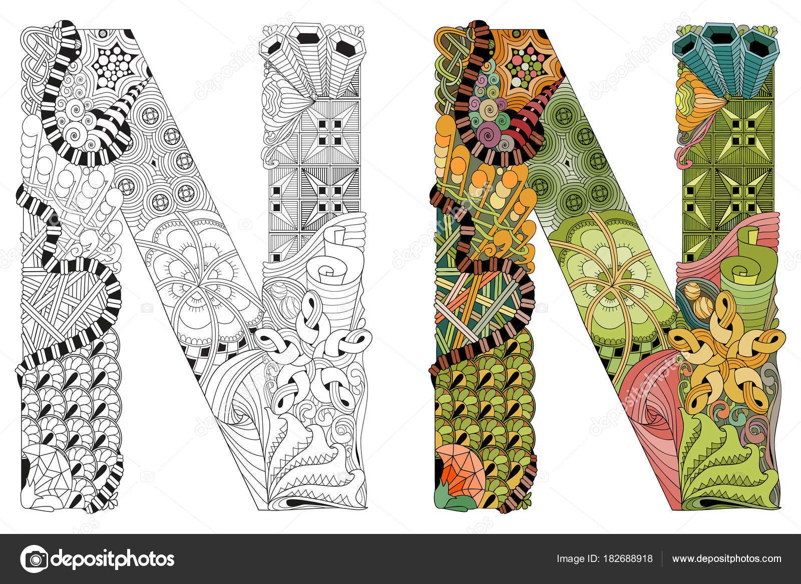 Letter N Zentangle For Coloring Vector Decorative Object Stock