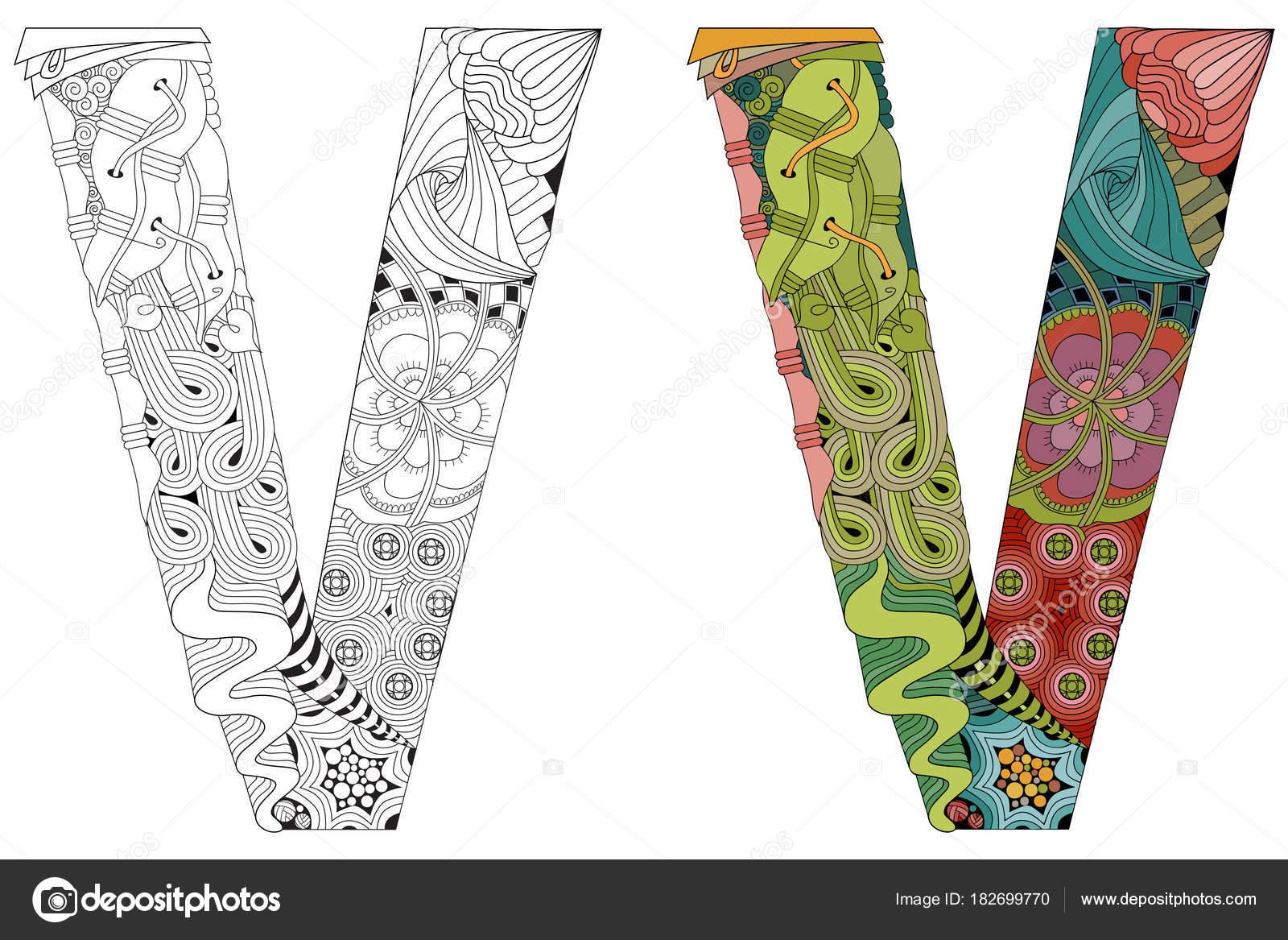 Zentangle Letra V Para Colorear Objeto Decorativo Vector