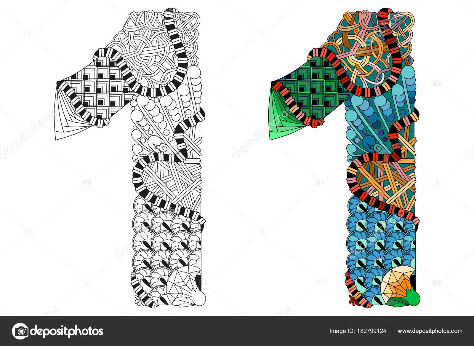 Zentangle número uno para colorear. Objeto decorativo Vector ...