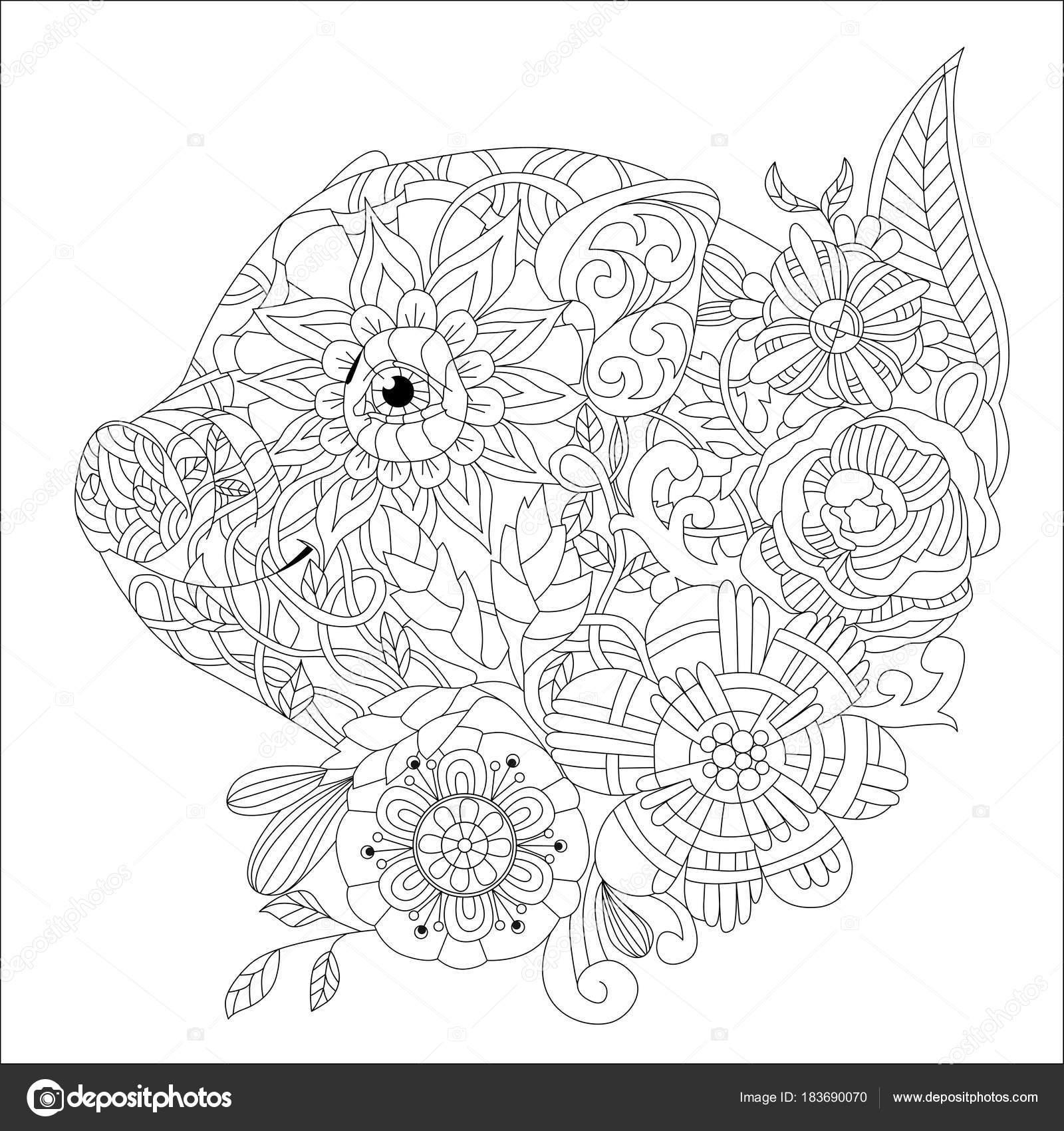 Piggy con flores para colorear libro de vectores adultos — Vector de ...