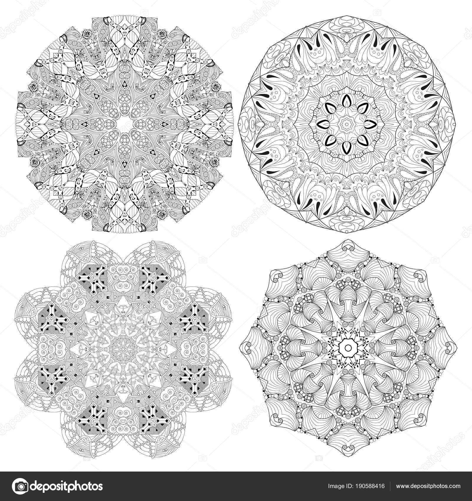 Handgezeichnete Zentangle set 4 Mandalas für Malvorlagen ...