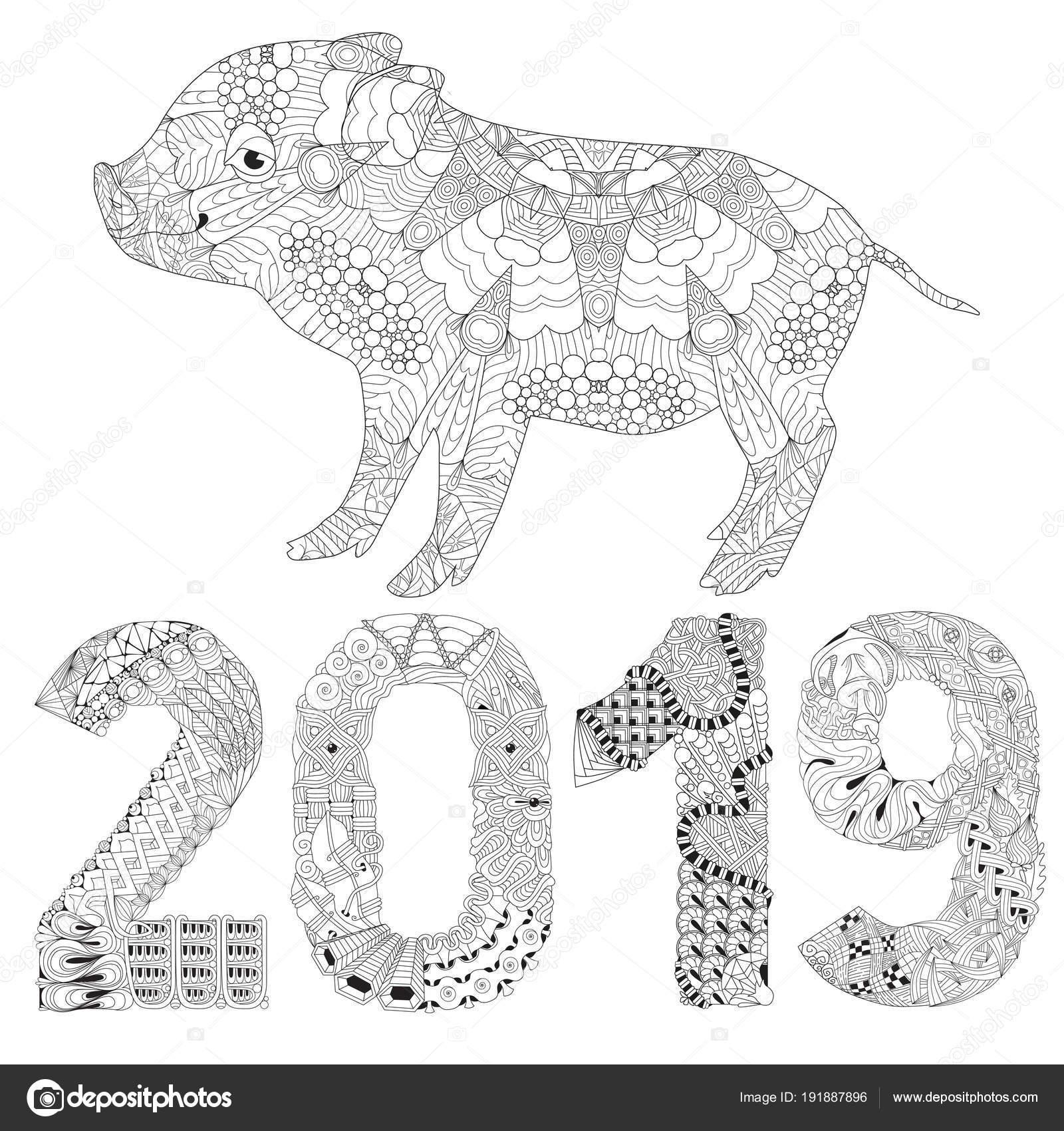 Coloriage Adulte A Imprimer Avec Numero.Livre De Coloriage Cochon Avec Numero 2019 Pour Vecteur