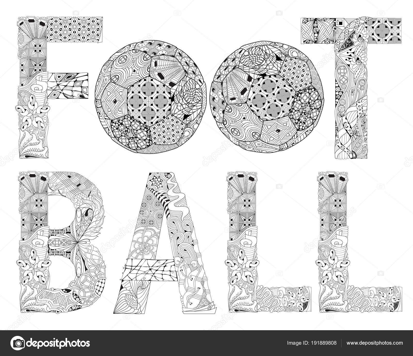 Wort Fußball Zum Ausmalen Dekorative Zentangle Vektorobjekt