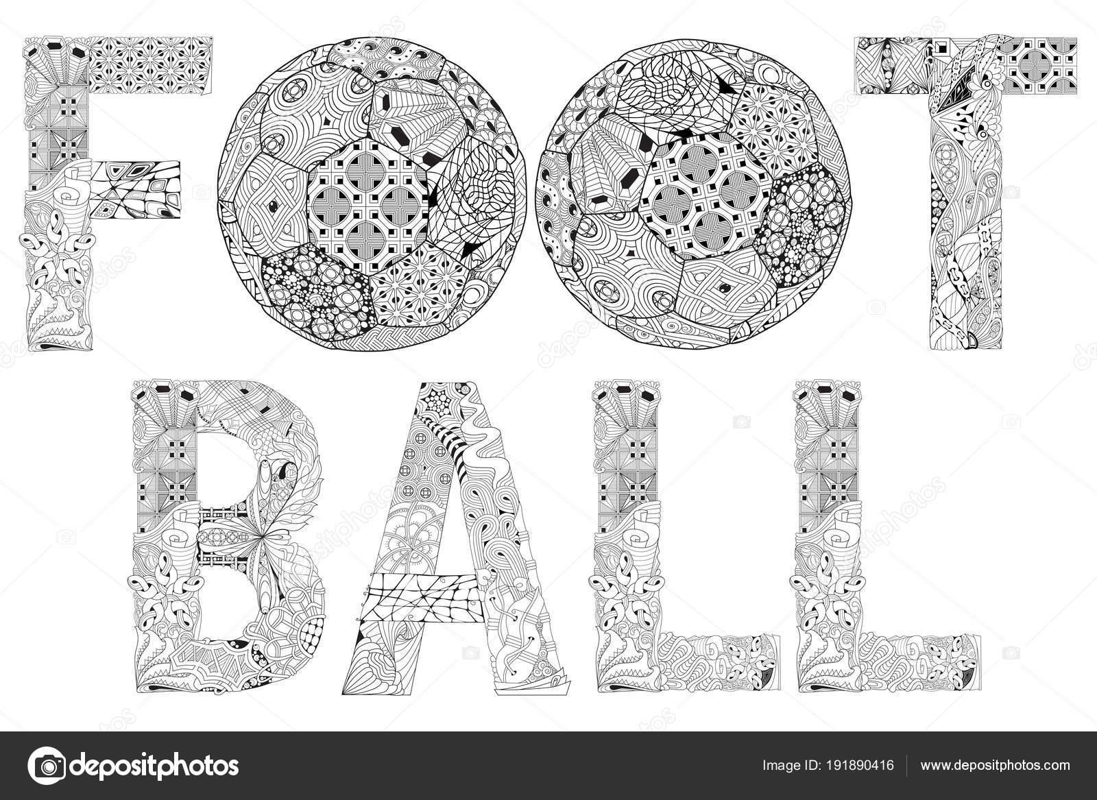 Wort Fussball Zum Ausmalen Dekorative Zentangle Vektorobjekt