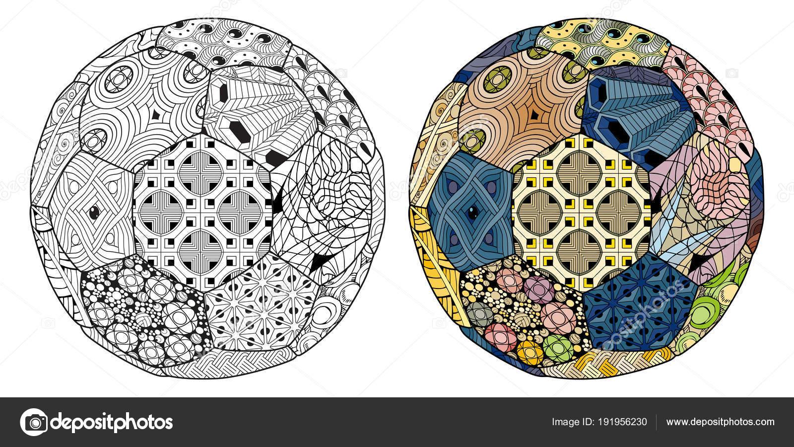 3a5fe9d79a3292 Zentangle estilizado bola de futebol. Ilustração em vetor mão ...