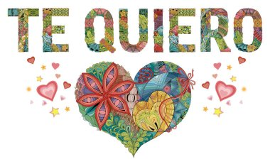 Words TE QUIERO with heart. I love you in Spanish. Vector decorative zentangle object
