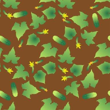 Cute seamless pattern with cartoon emoji cucumber