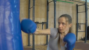 Slow Motion The Girl In Boxing Gloves