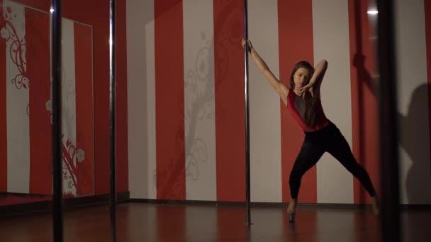 Egy kaukázusi nő rúd táncos táncol