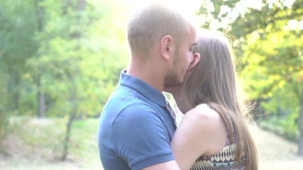 Romance Of A Young Couple In Love Park Sunset Slow Motion Lifestyle