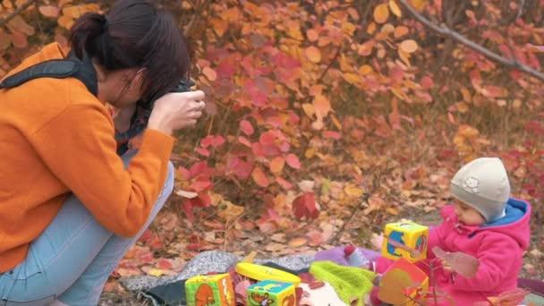 Slow Motion Woman Photographer Take Photo Shoot A Little Child Girl