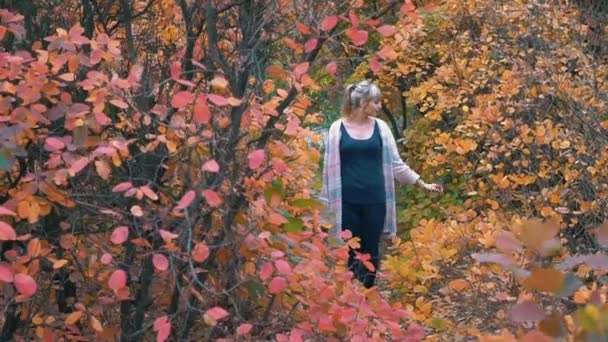 Real Time Young Girl Walks In The Park In Autumn.
