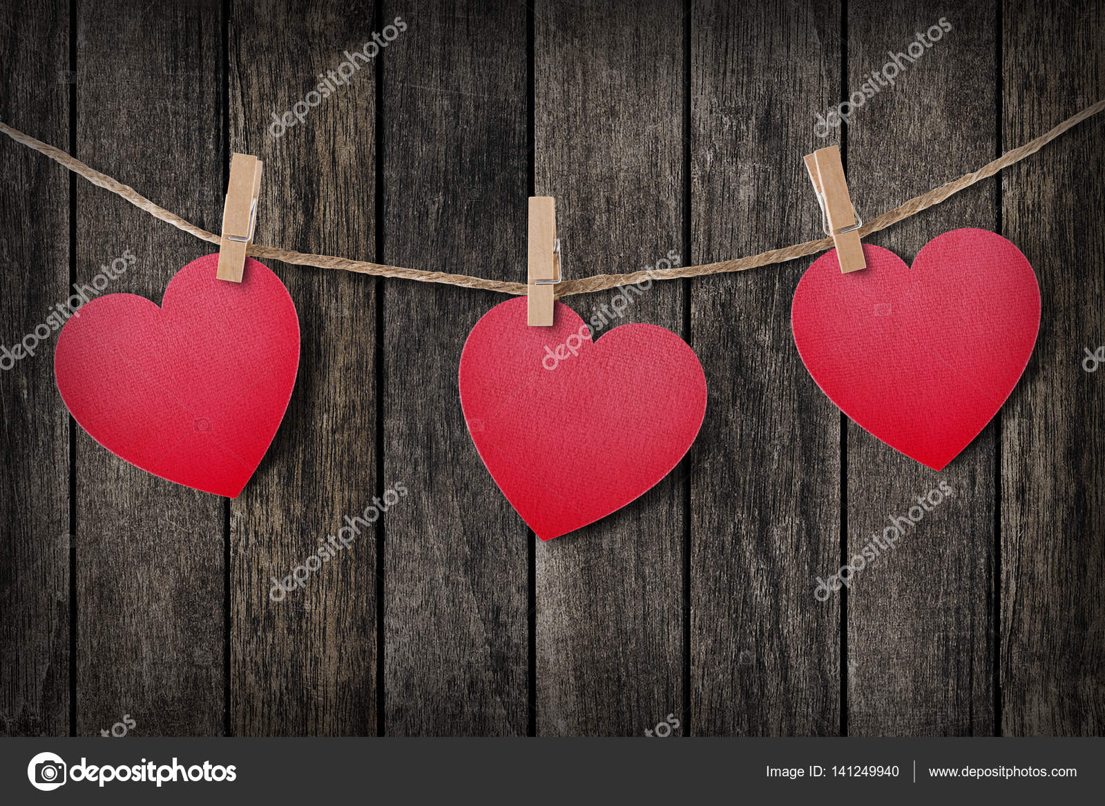 love hearts hanging on rope on wood fore valentine day with — stock