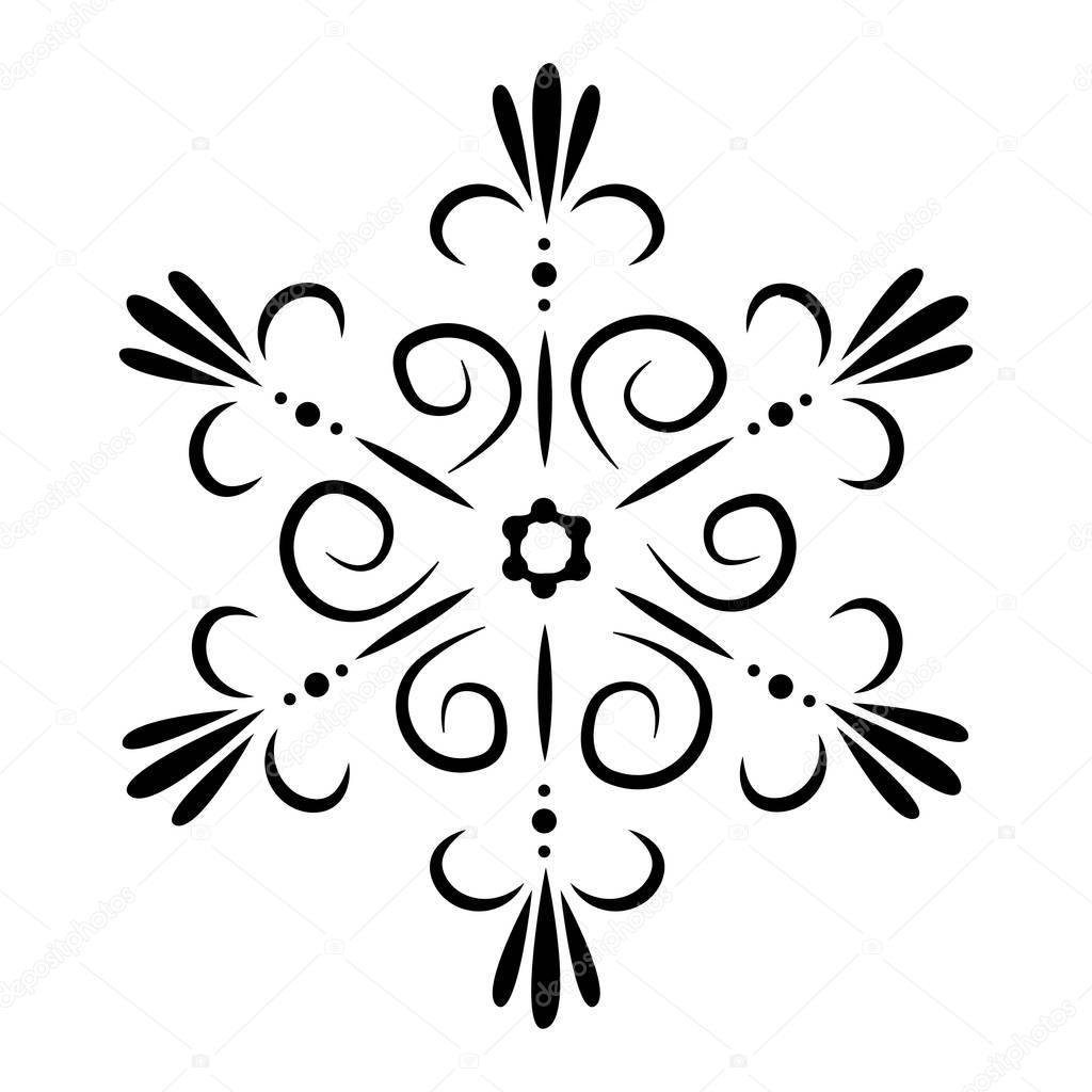 Tatuaż Płatka śniegu Lub Kwiat Abstrakcja Vector Na Białym