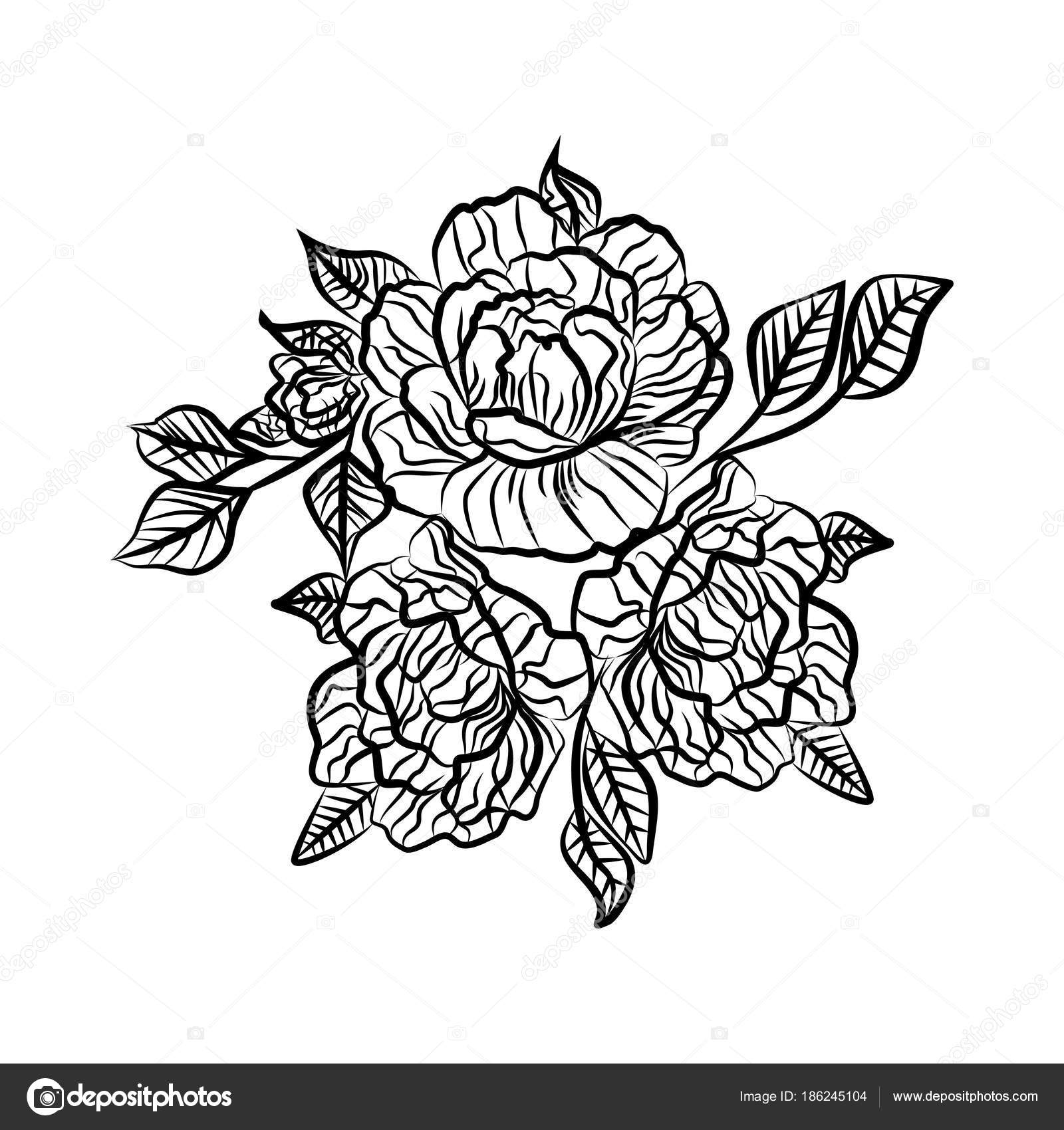 Black And White Drawing Of A Rose Tattoo Silhouette Of Branch With