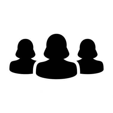 Women Team Icon Vector User Group of People Glyph Pictogram illustration