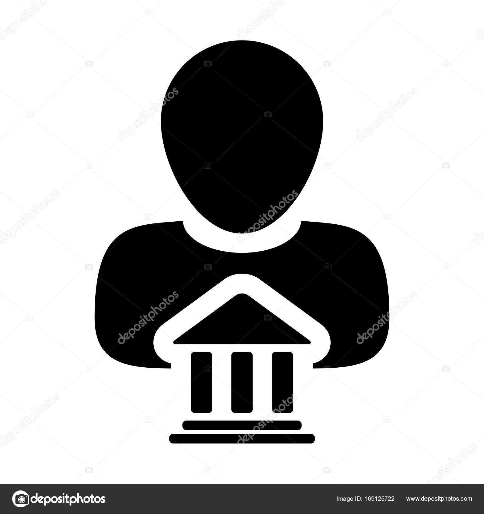 Bank icon vector with person profile male symbol stock vector bank icon vector with person profile male avatar symbol for banking and finance in flat color glyph pictogram illustration vector by tuktukdesign biocorpaavc Gallery
