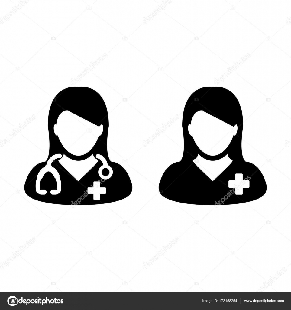 Doctor icon vector patient medical consultation and assistant doctor icon with female patient medical consultation and assistant avatar in symbol glyph pictogram illustration vector by tuktukdesign buycottarizona
