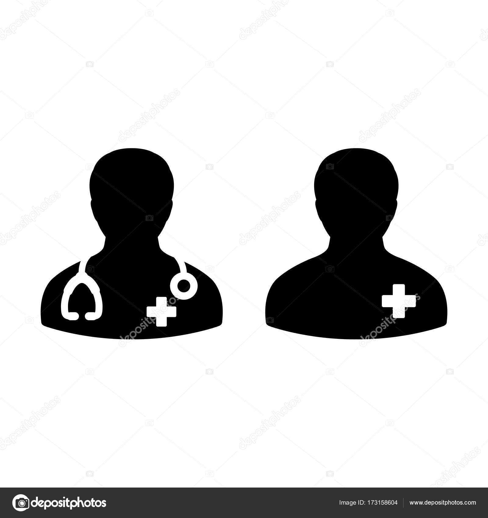 Doctor icon patient medical consultation and assistant male avatar doctor icon with male patient medical consultation and assistant avatar in symbol glyph pictogram illustration vector by tuktukdesign buycottarizona