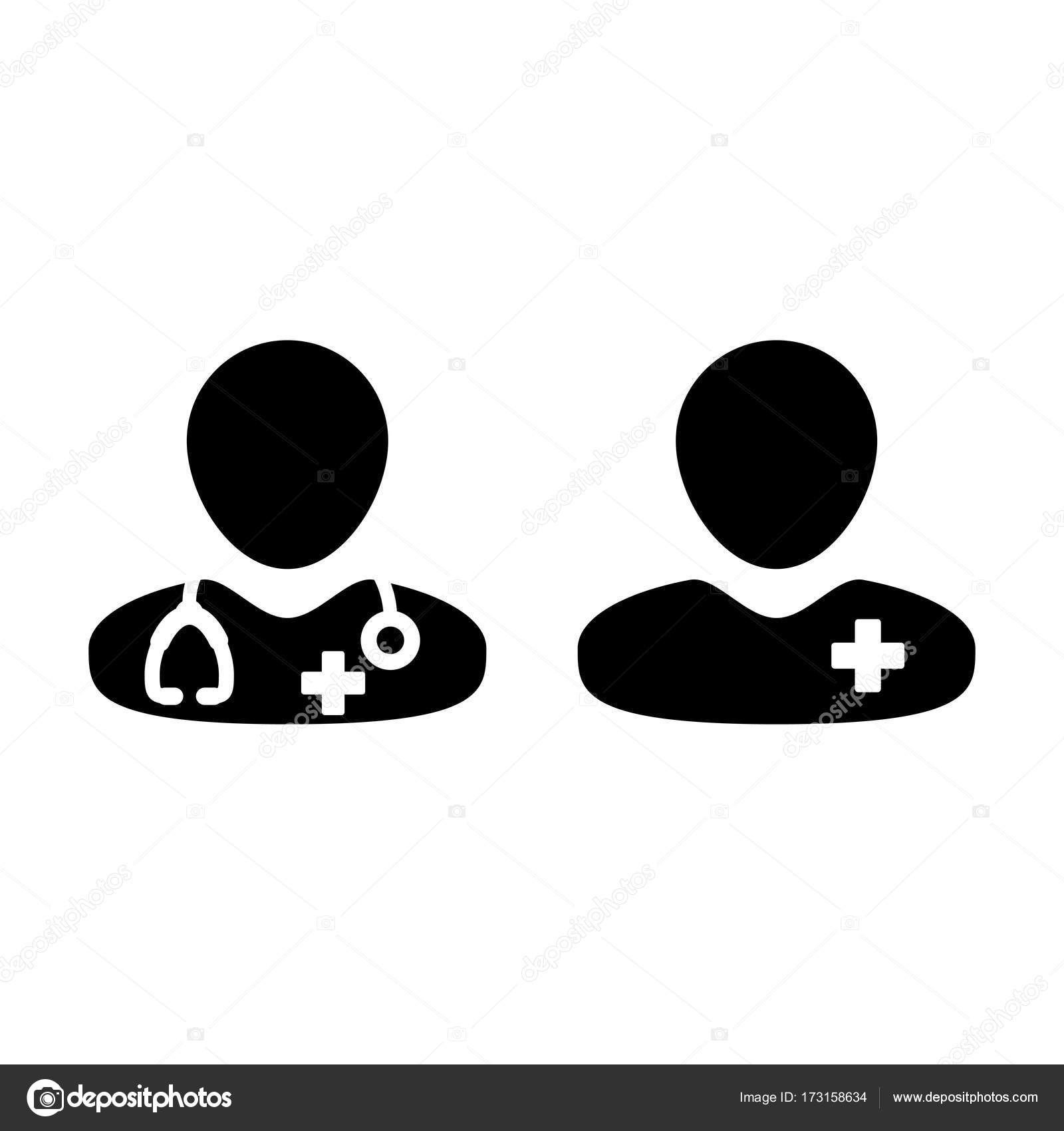 Doctor icon vector patient medical consultation and assistant male doctor icon with male patient medical consultation and assistant avatar in symbol glyph pictogram illustration vector by tuktukdesign buycottarizona Images