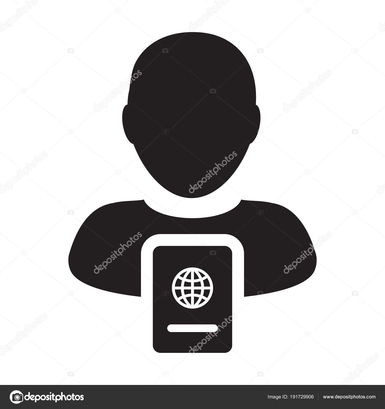 Passport Icon Vector Male Person Profile Avatar Symbol For