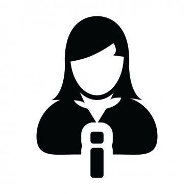 Information icon vector female person profile avatar symbol for business in a glyph pictogram illustration