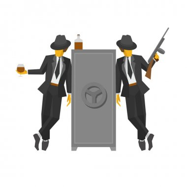 Two gangsters in suits standing near the safe