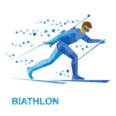 Winter sports - Biathlon. Cartoon biathlete going skiing with ri
