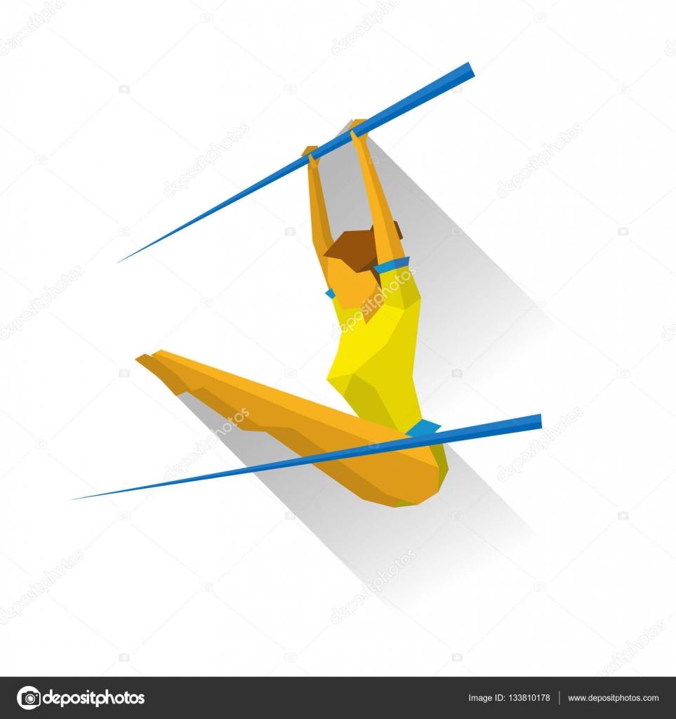 ginástica artística barras assimétricas garota fazendo exercícios