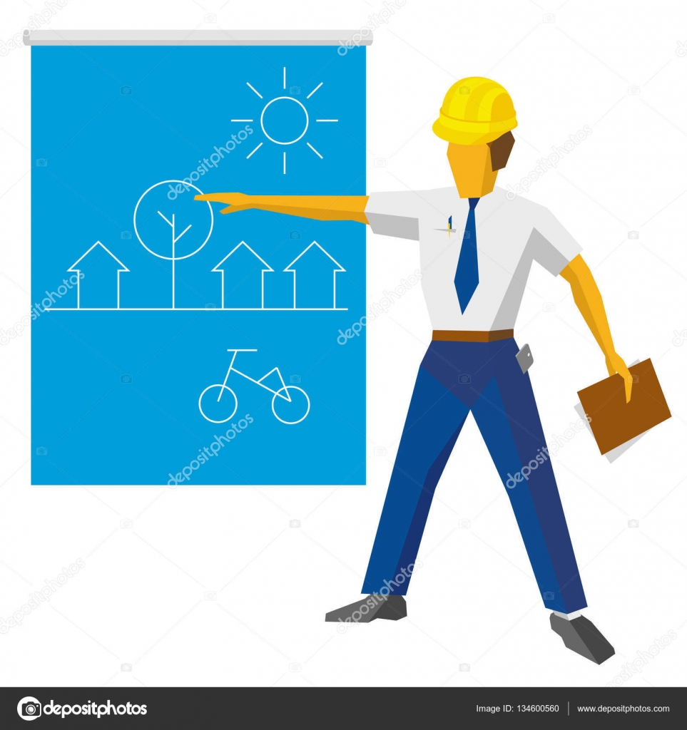 Engineer builder show blueprint with ecological project stock engineer builder show blueprint with ecological project stock vector malvernweather Images