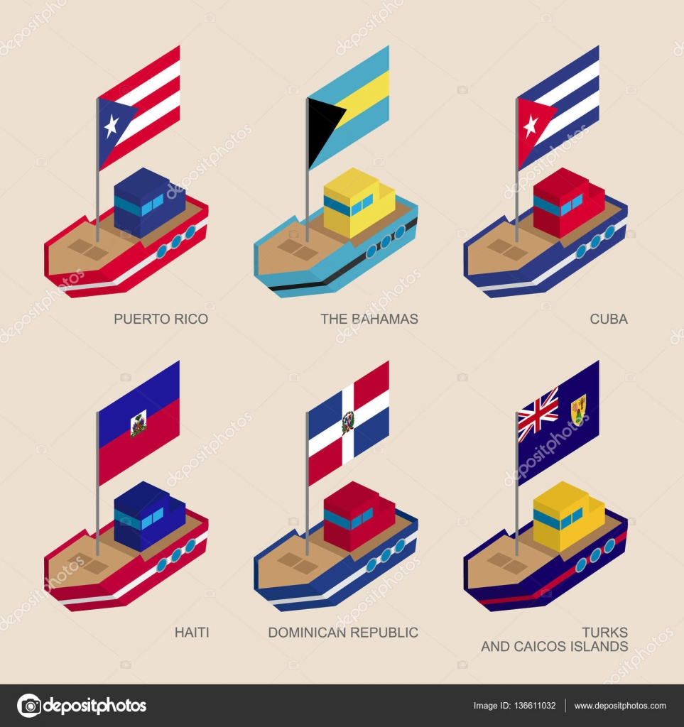 Isometric ships with flags cuba dominican republic haiti cartoon vessels with standards cuba dominican republic haiti bahamas puerto rico turks and caicos islands sea transport icons for infographics biocorpaavc Choice Image