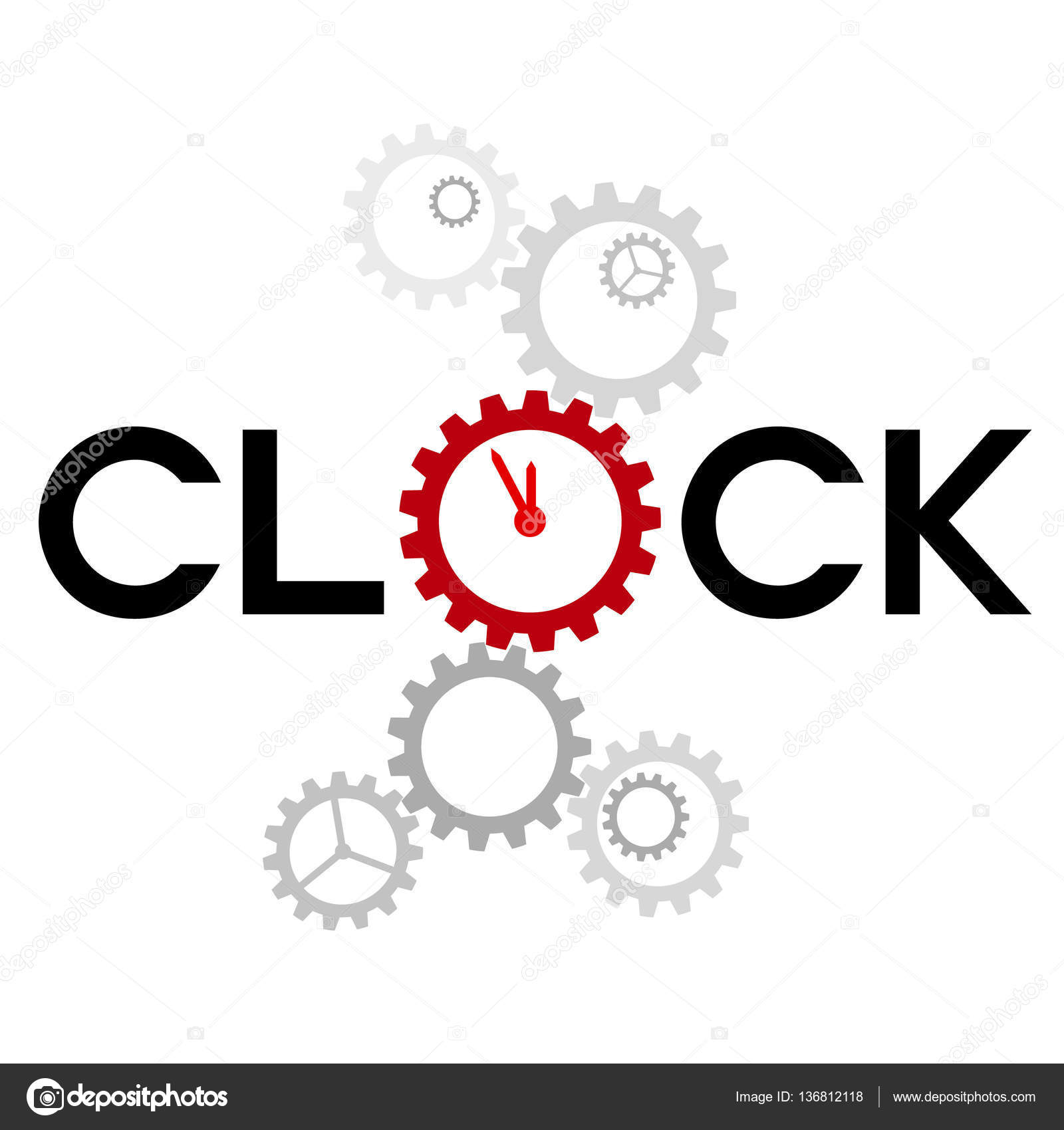 Word Clock With Big Gear Instead O Stock Vector Teleseven