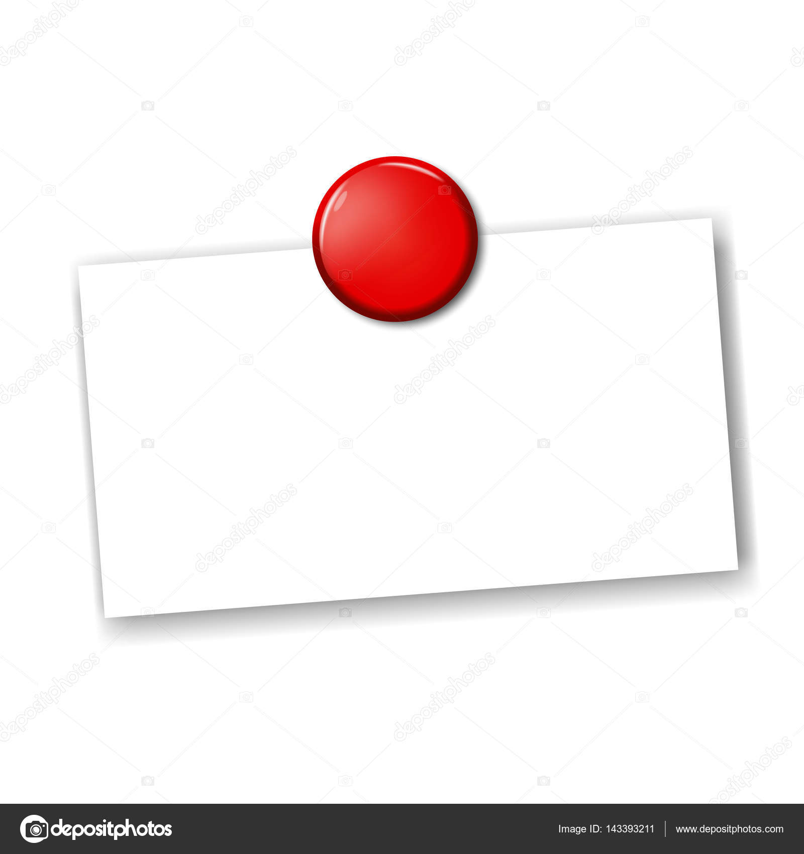Blank business card fixed by red pin magnet — Stock Vector ...