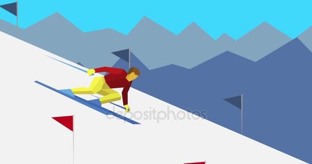 Kreslený lyžař sklon z kopce
