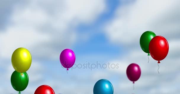 Barevné vzduchu balóny létat na obloze. Bezešvá smyčka