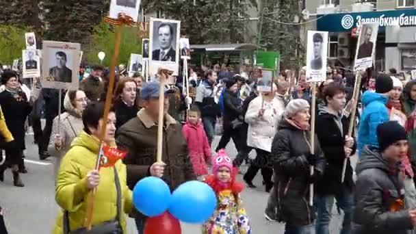 TYUMEN, RUSSIA - 09 MAY 2017: Victory Day parade - Immortal Regiment march.