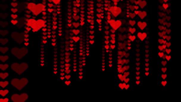 Romantické pozadí abstraktní - spousta kreslený červené srdce padají na čistě černou