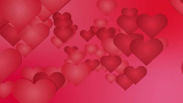 Romantické pozadí abstraktní - spousta kreslený červené srdce do fotoaparátu