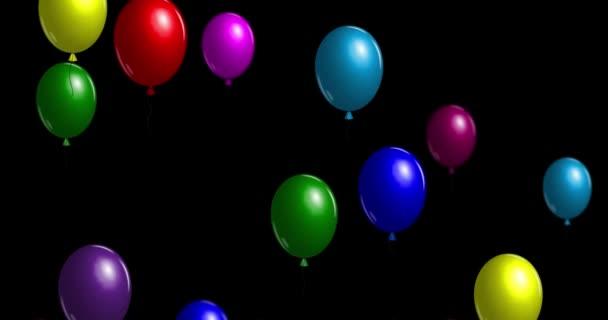 Zábavné barevné vzduchu balóny létat až do nebe. Animované pozadí pro moje oslava výročí. Světlé ozdobné prvky na narozeniny. Bezešvá smyčka, 4
