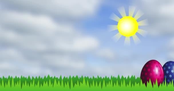 Fényes húsvéti tojás sárga nap alatt zöld füvön. Objektumok áthelyezése jobbra-balra. Rajzfilm intro vonatkozó nyaralás helyét a szöveg. 4k video-val alfa csatornáz.