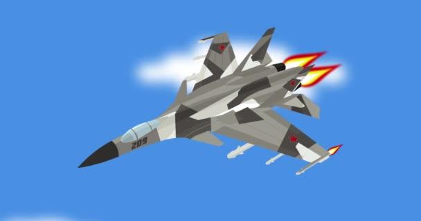 Cartone animato combattente di jet russo sovietico lancio missili